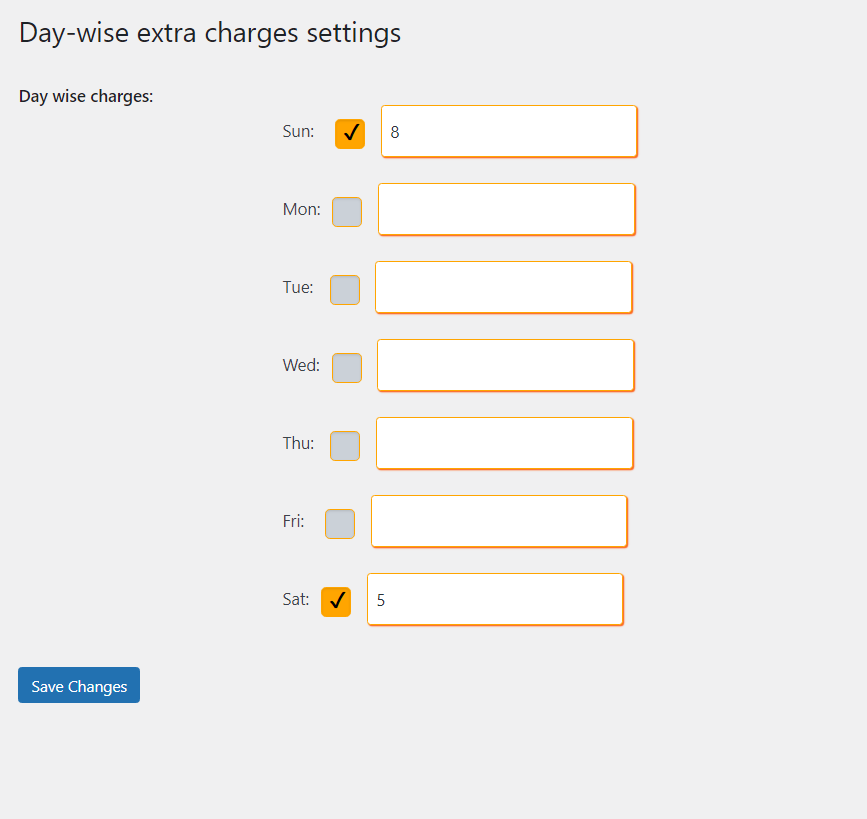 Day-wise extra delivery charges settings - WooODT_Extended