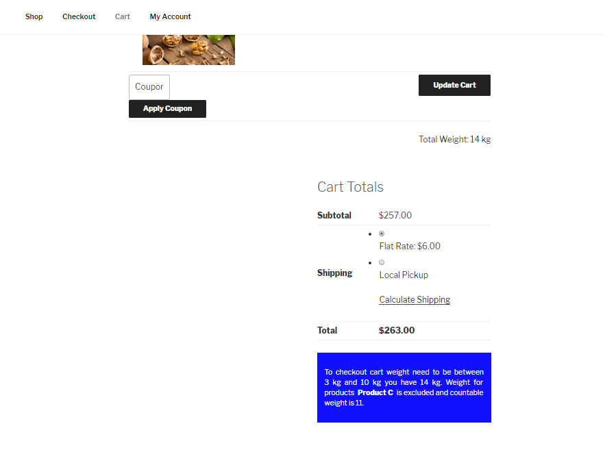 Cart-page-over-weight-with excluded-category