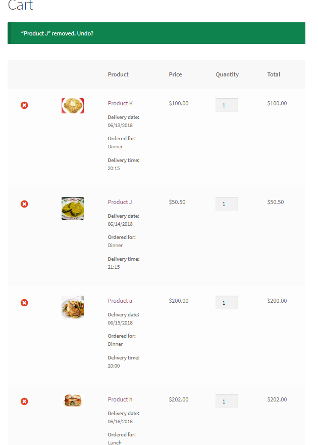 A single order can have different delivery dates time for each of its item