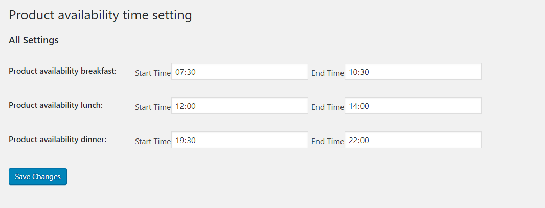 Meal timing settings as per meal type