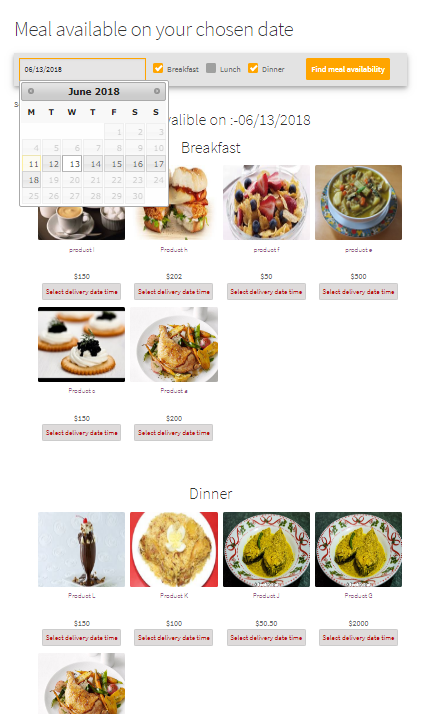 Check restaurant dish availability by date
