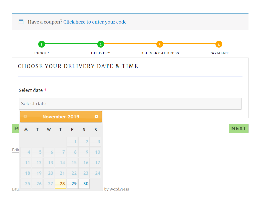 Delivery datepicker calendar for laundry