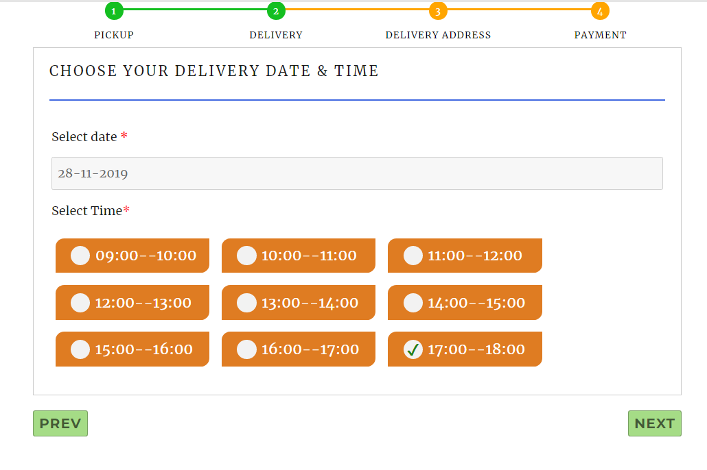Delivery time slots for laundry