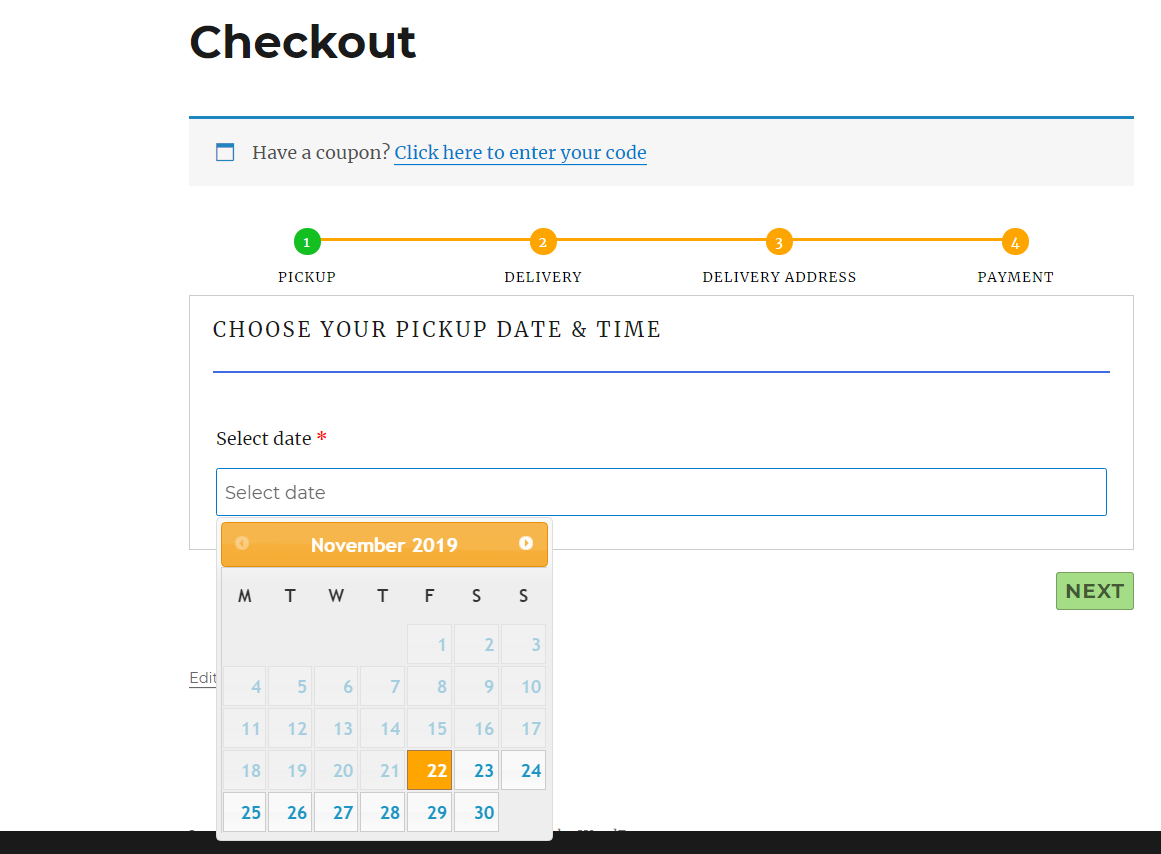 Pickup datepicker calendar for laundry