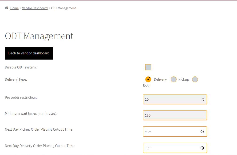Vendor specific cutoff time lead time settings in WC Vendor Pro dashboard