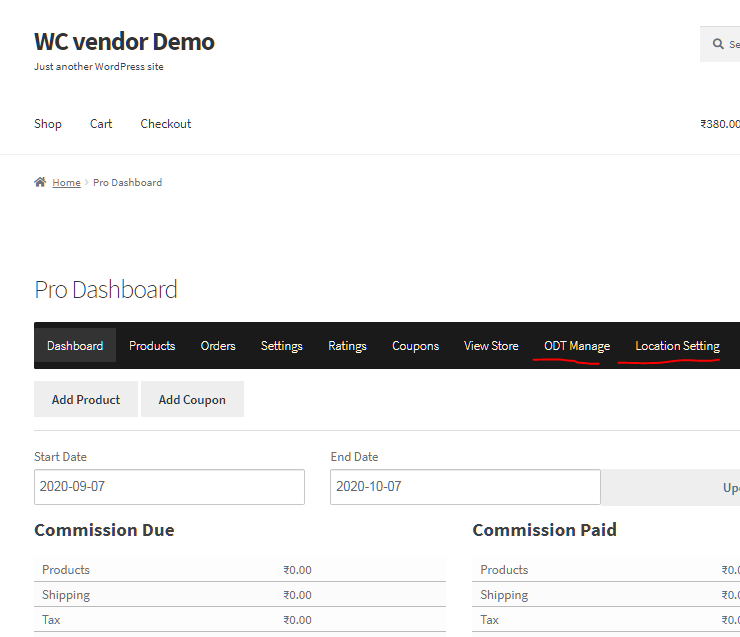 WC Vendor Pro dashboard with WooODT Menu