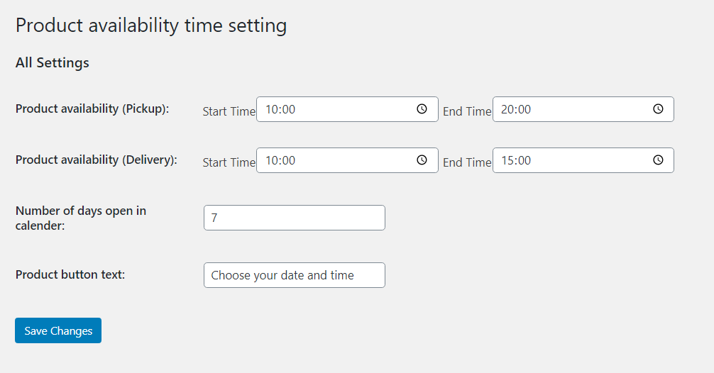 Product Time Table for WooCommerce - Setup time for delivery and pickup
