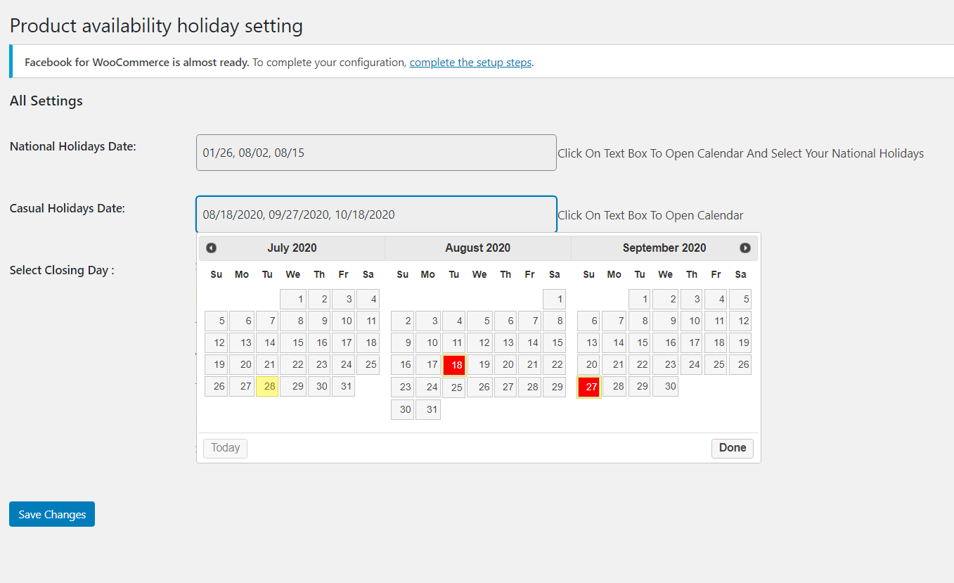Product Time Table for WooCommerce - holiday calendar setup