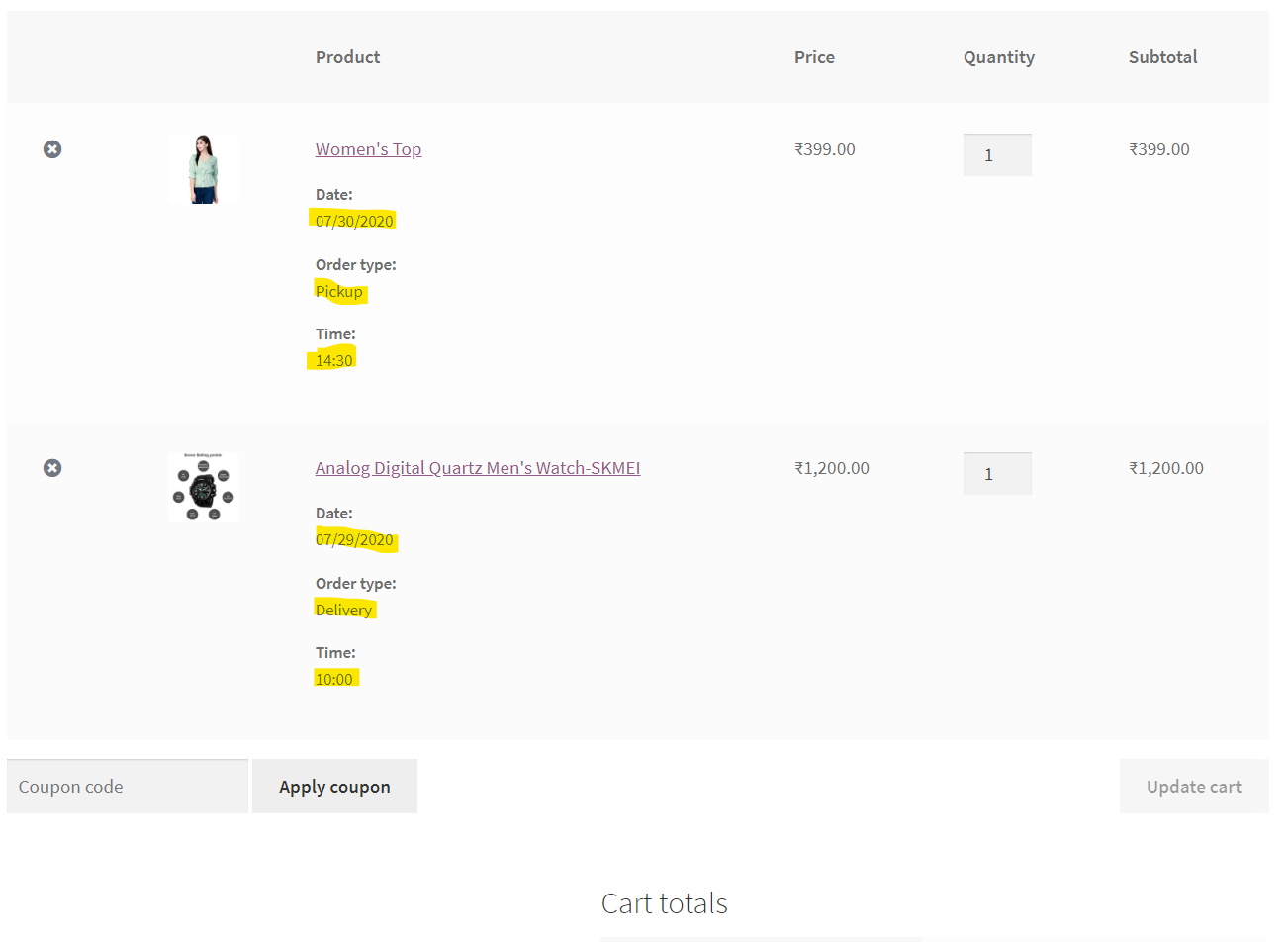 Product Time Table For WooCommerce - Cart page